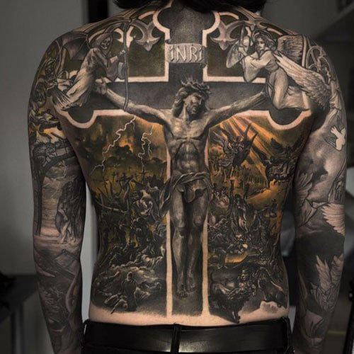 Cool Jesus Christ and Cross Tattoo