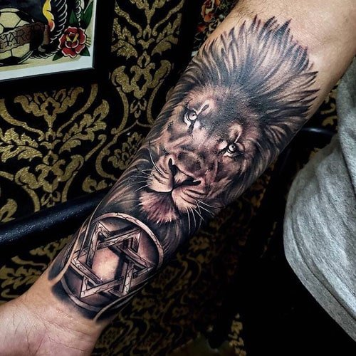 Cool Lion Forearm Tattoo For Men