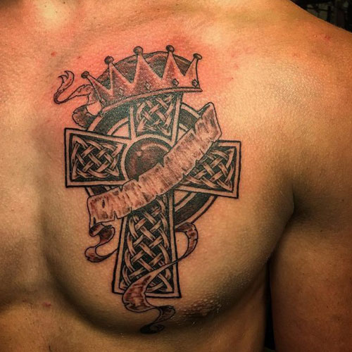 Cross and Crown Tattoo