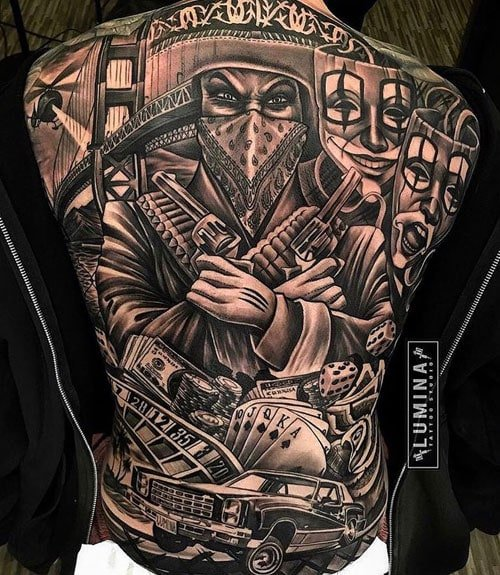 Detailed Unique Back Tattoo Design
