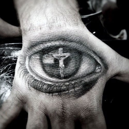 Eye with Crucifix Hand Tattoo