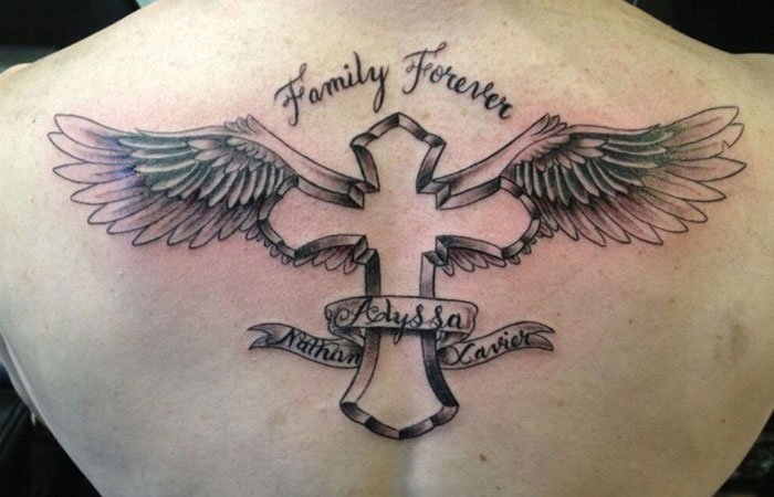 Family Cross Tattoo