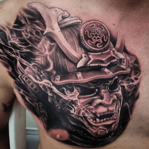 Manly Tattoo with Samurai on Chest