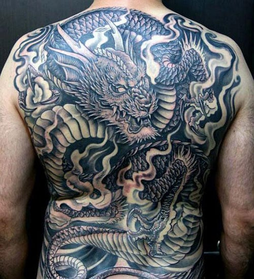 Masculine Full Back Dragon Tattoo