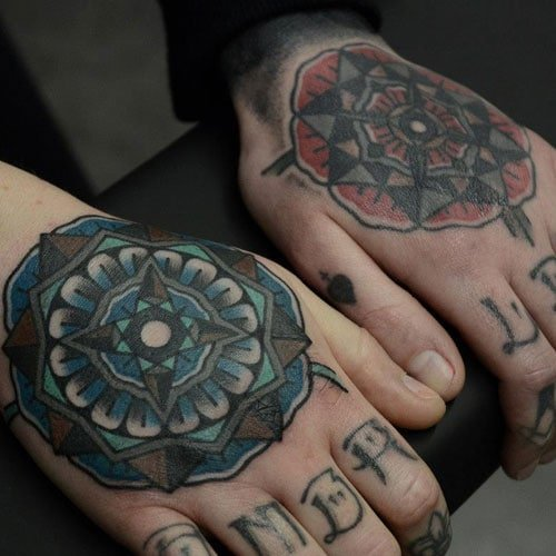 Red Blue Mandala Hand Tattoo