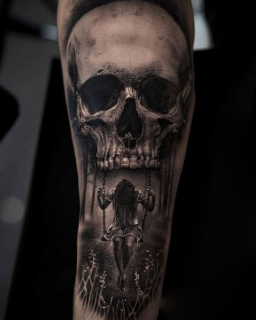 Scary Skull Tattoo on Forearm