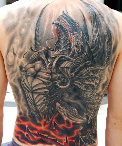 Awesome Dragon Tattoo Design on Back