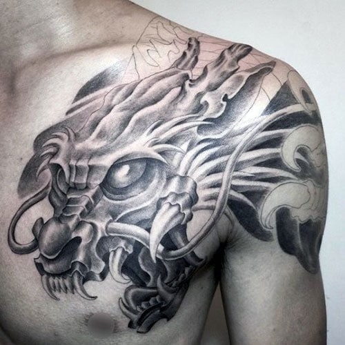 Awesome Dragon Tattoo on Shoulder and Chest