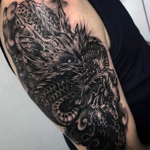 Badass Black Dragon Tattoo Design