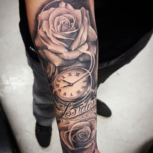 Badass Rose Half Sleeve Tattoo