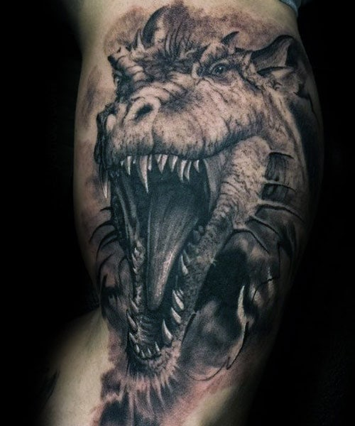 Cool 3D Dragon Tattoo on Arm