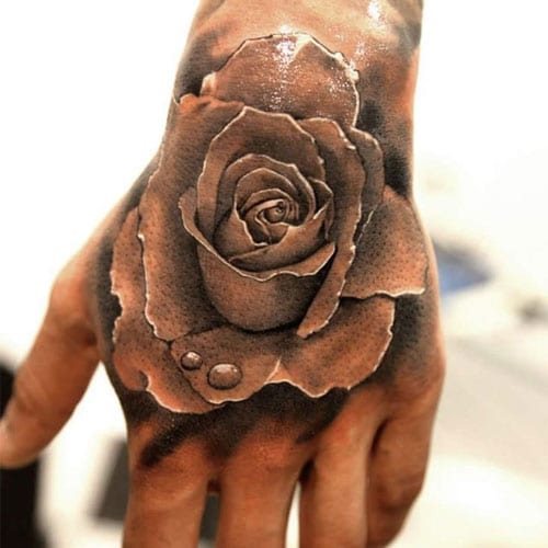 Cool Black and White Rose Tattoo