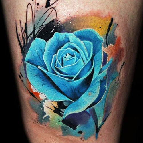 Cool Blue Rose Tattoo Design