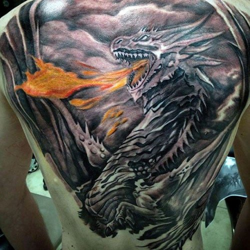 Fire-Breathing Dragon Tattoo on Back