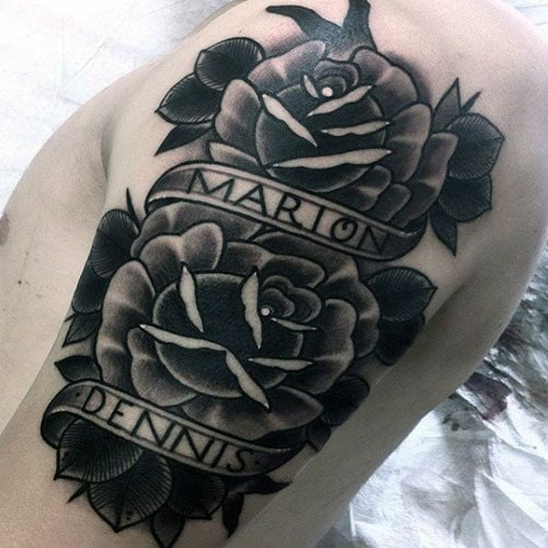 Rose and Name Tattoo
