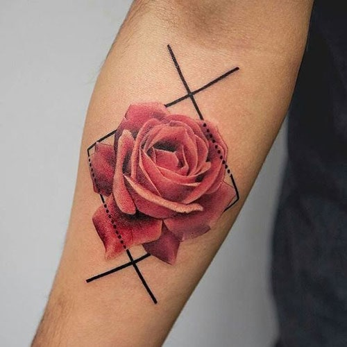 Simple Rose Tattoo For Guys on Forearm