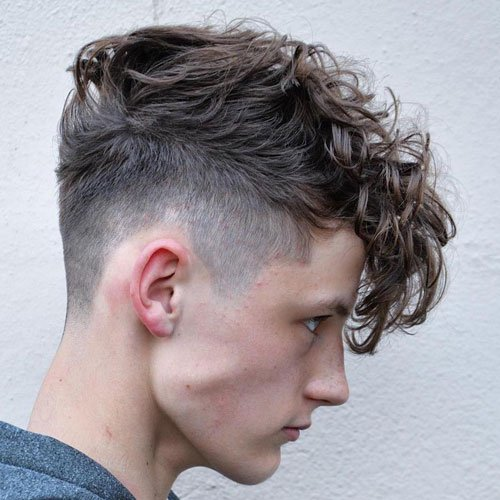 Long Curly Hair Fringe with Taper Fade