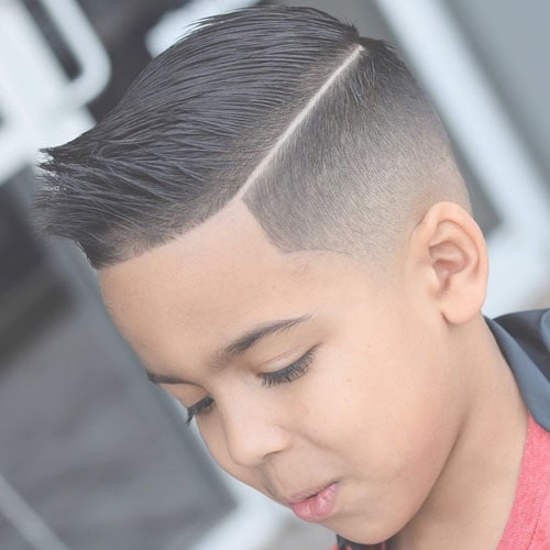 Baby Boy Haircuts - Low Taper Fade with Hard Part Comb Over and Spiked Up Front