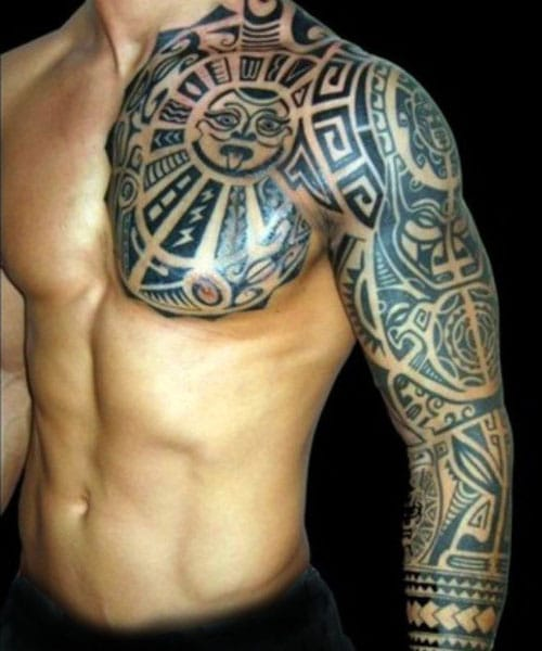 Cool Full Sleeve, Back and Chest Tribal Tattoos