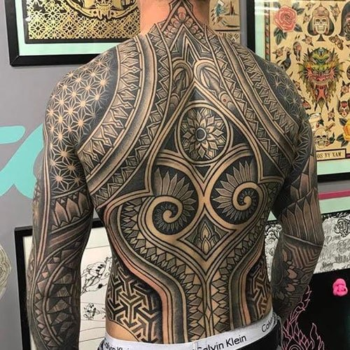 Cool Tribal Back Tattoos For Guys