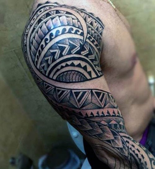 Cool Tribal Tattoo Designs For Guys on Shoulder and Arm