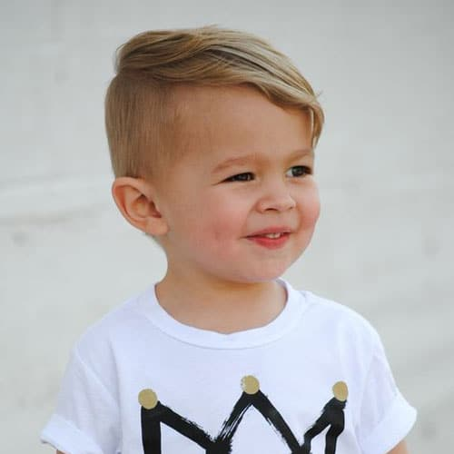 Cute Hairstyles For Little Boys - Long Combed Over Side Swept Hair with Short Sides