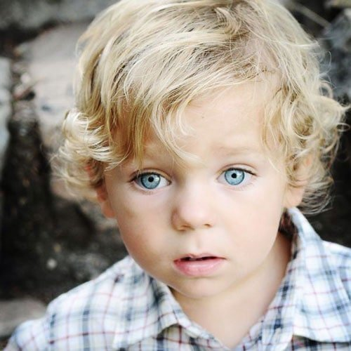 Little Boy Long Hairstyles - Cute Side Part with Curly Hair
