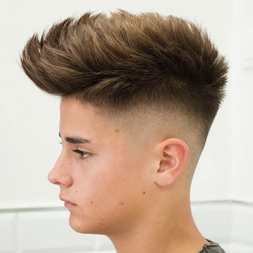 Mid Fade Haircut + Thick Textured Spiky Hair on Top