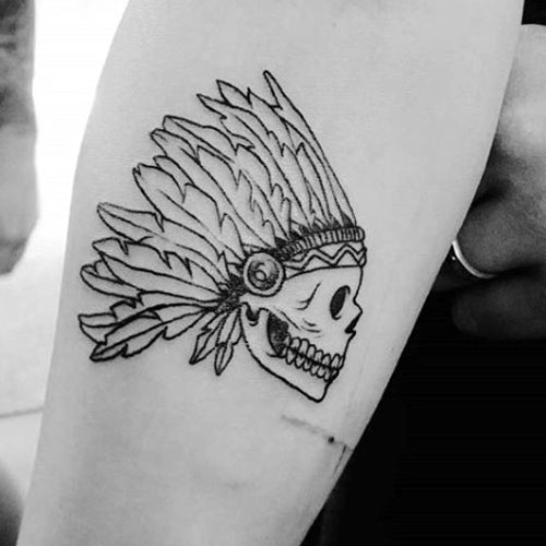 Simple Small Tattoos For Men - Skull on Arm