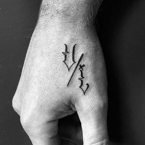 Small Letters Hand Tattoo For Men