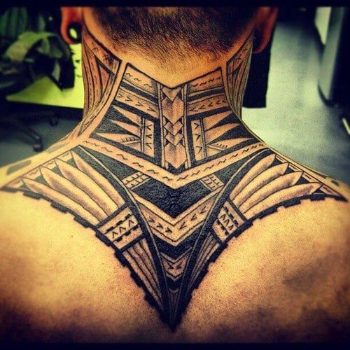 Tribal Neck and Back Tattoos For Men