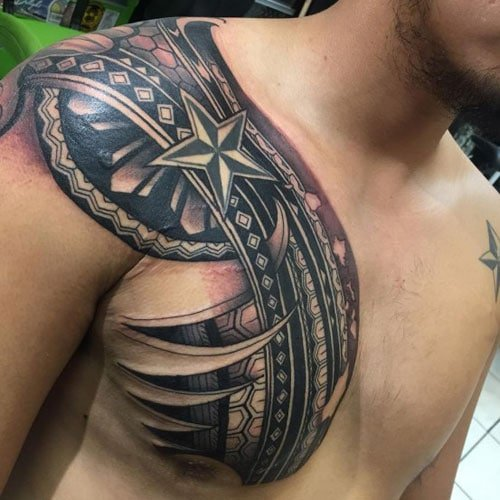 Unique Tribal Chest Tattoo with 3D Designs