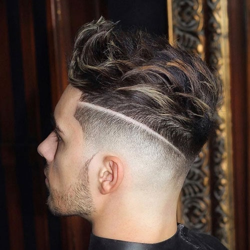 Fuckboy Haircuts For Men - Quiff Hairstyle with Low Bald Fade