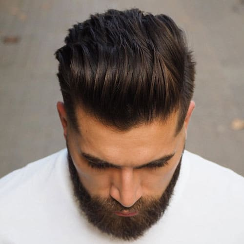 Fuckboy Hairstyle - Thick Textured Brushed Back Hairstyle + Fade + Beard