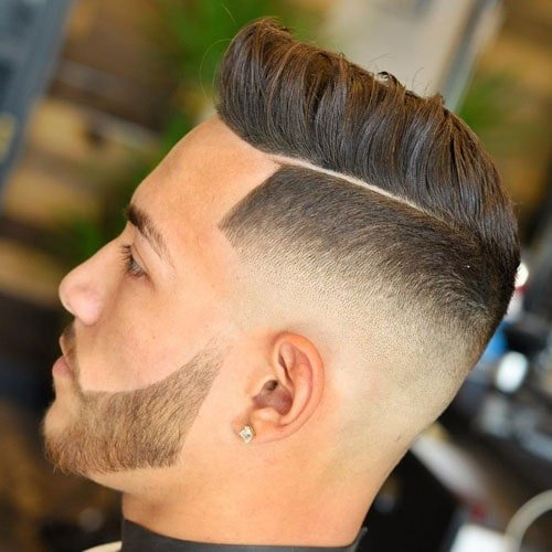 Modern Quiff Haircut + Hard Part + Line Up + Low Bald Fade