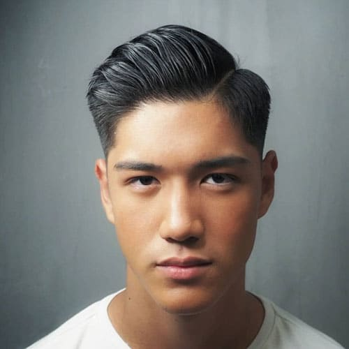 Hard Part Comb Over Fade For Asian Hair