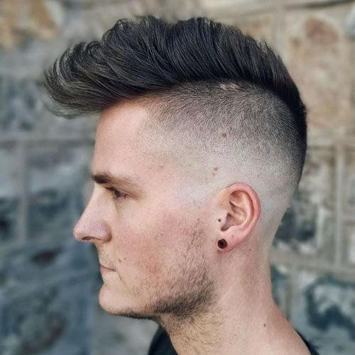 Messy Fohawk Shaved Sides Men