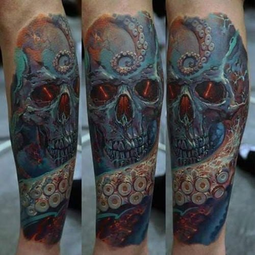 Awesome Forearm Skull Tattoo Designs