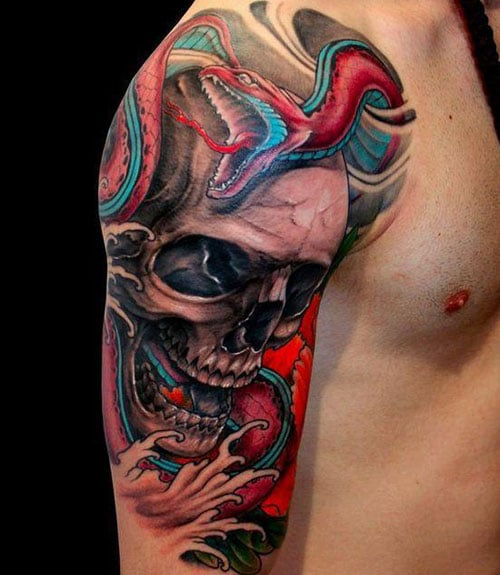 Awesome Upper Arm Shoulder Skull Tattoo