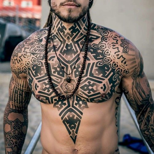 Badass Full Chest Tribal Tattoo Designs