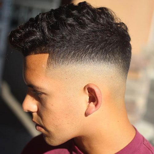 Bald Fade Haircut For Wavy Hair Men