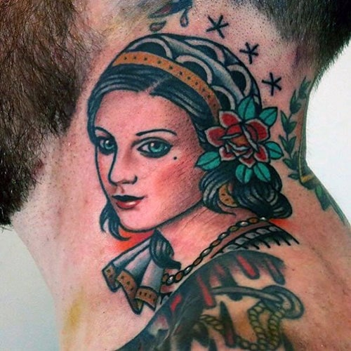Beautiful Women Neck Tattoos