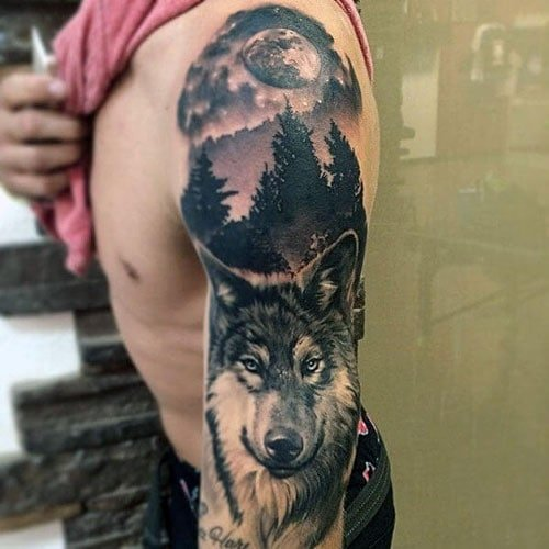 Best Full Sleeve Arm Wolf Tattoo