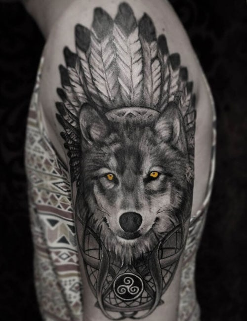 Best Wolf Sleeve Tattoo For Men