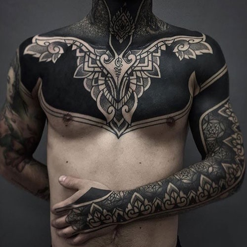 Black Chest Tattoo