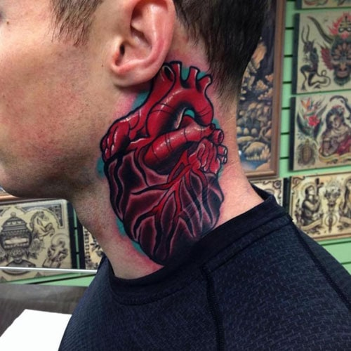 Blood Red Heart Neck Tattoo Designs