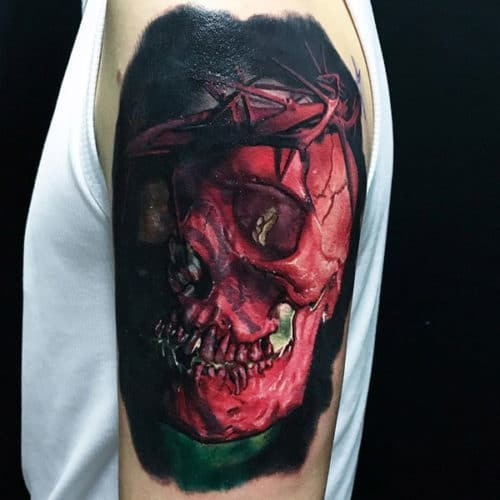 Blood Red Skull Tattoo
