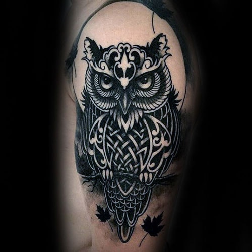 Celtic Tribal Owl Tattoo