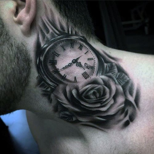 Clock Neck Tattoo