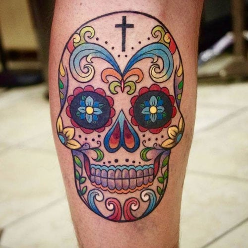 Colorful Day of the Dead Sugar Skull Tattoo Designs